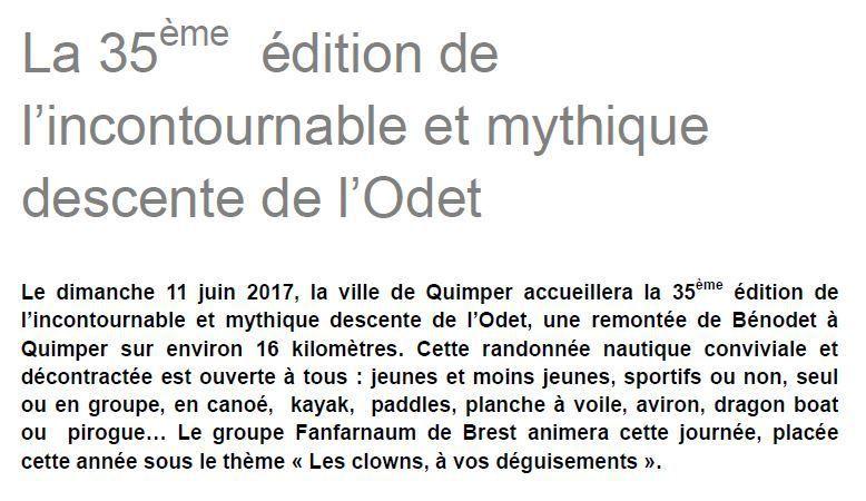 Dimanche 11 juin, la 35ème édition de la descente de l'Odet
