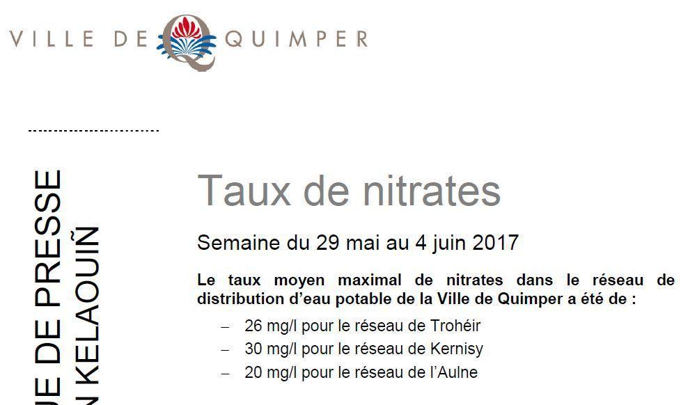 Taux de nitrates à Quimper du 29 mai au 4 juin