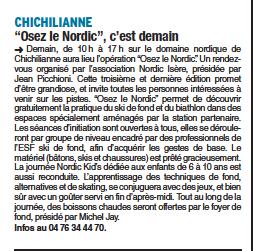 Dauphiné Libéré du 14 février 2015