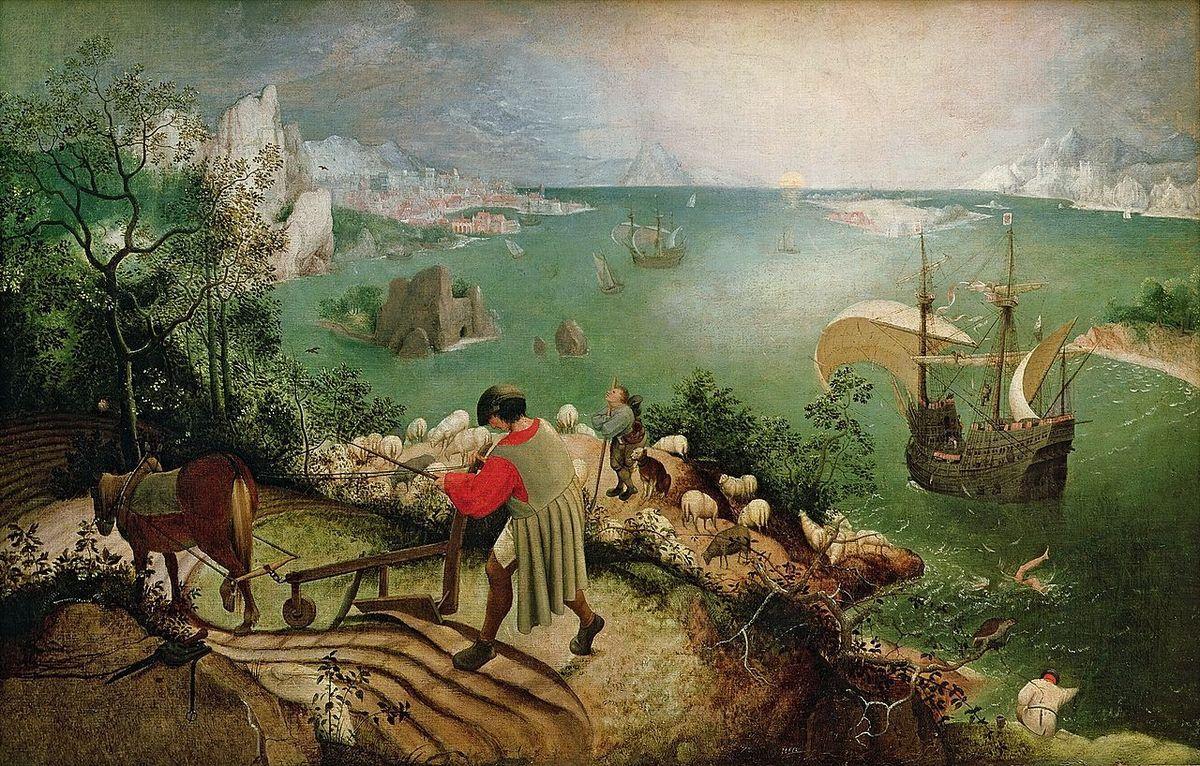 La Chute d'Icare. Dans ce tableau de Brueghel l'Ancien, le paysan au premier plan n'a que faire du pauvre fou qui s'est brûlé les ailes: il poursuit son dur labeur. Hélas! Les Icare d'aujourd'hui ne plongent pas seuls dans l'abîme&#x3B; ils entraînent avec eux marchands, bergers, citadins et cultivateurs.