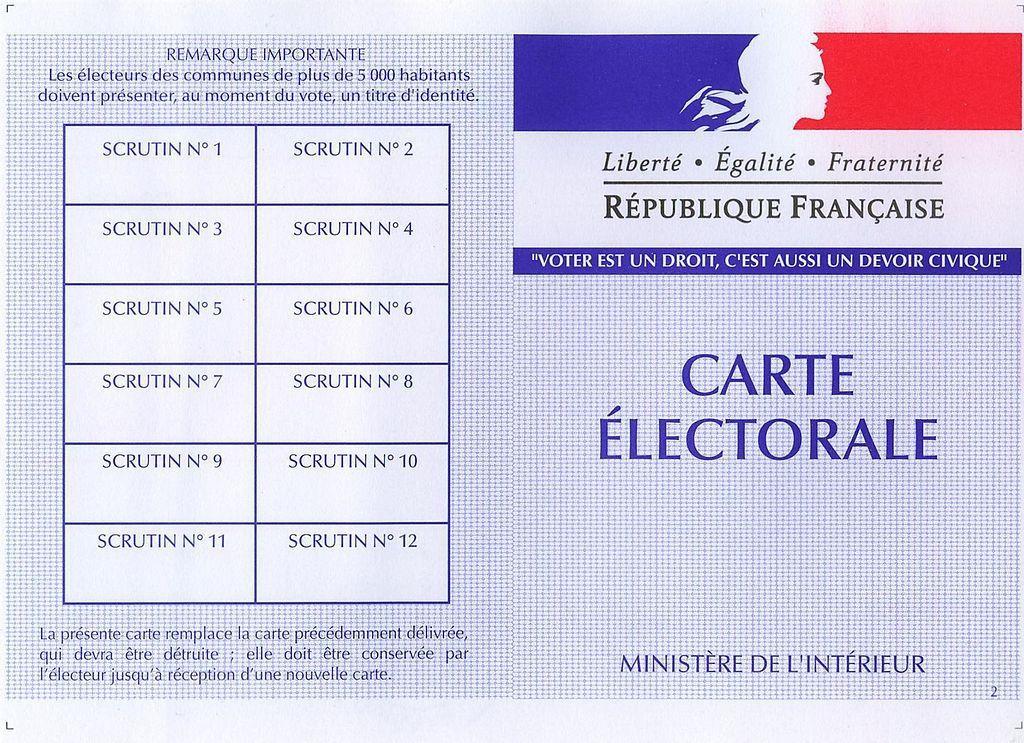La carte électorale. J'espère que vous l'avez et que vous en ferez bon usage...