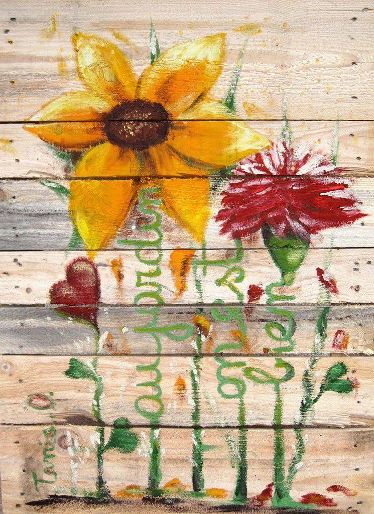 Acrylique sur palette de bois recyclée  88 x 63 cm