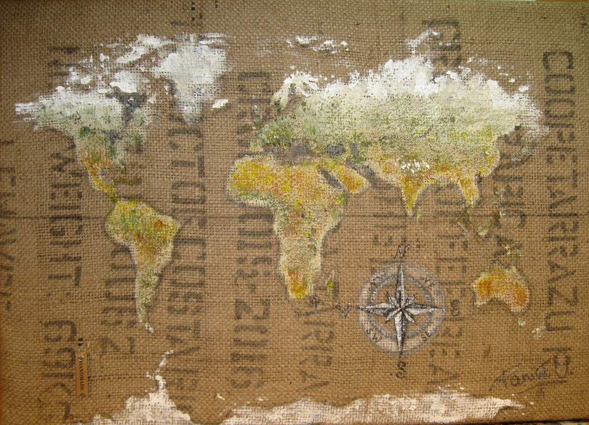 Peinture acrylique sur sac de café du Costa-Rica  70 x 50 cm