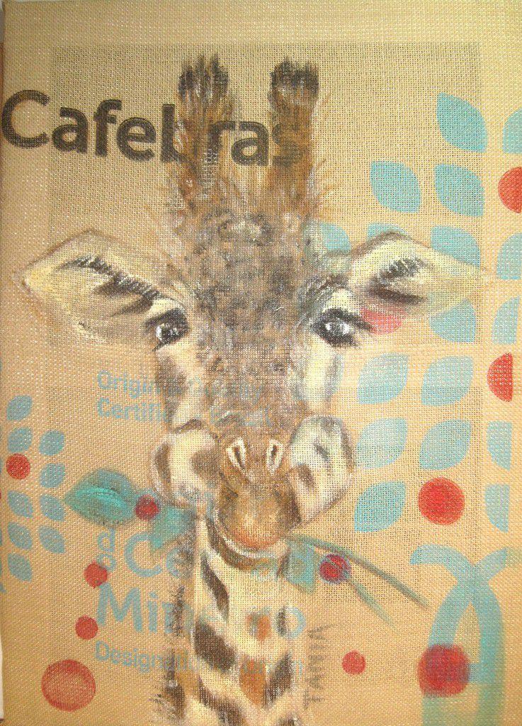 Acrylique sur sac de café 50 x 70 cm