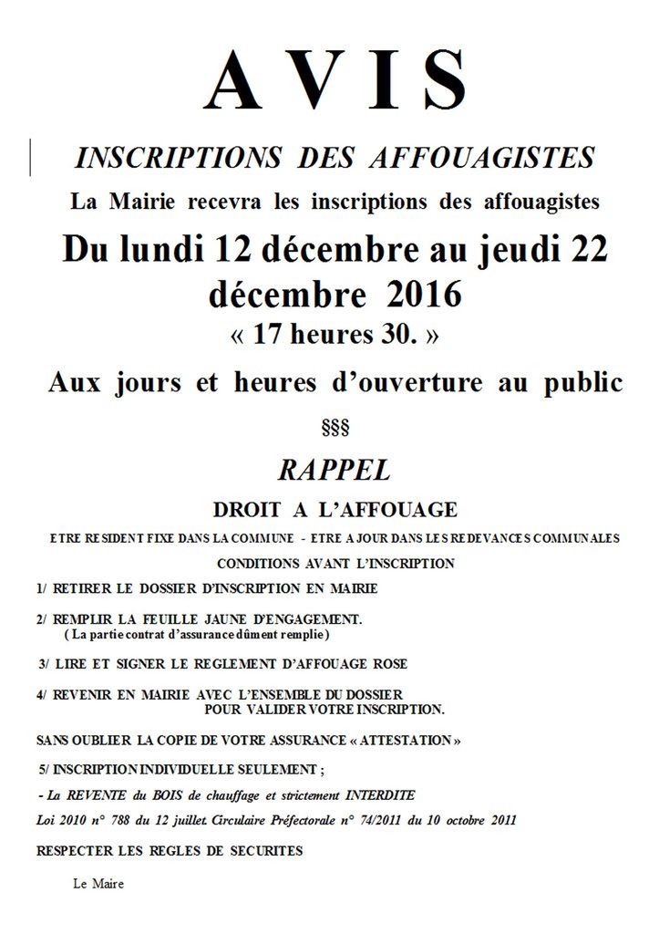INSCRIPTIONS  DES  AFFOUAGISTES 2106 2017