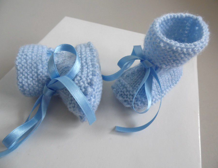 Chaussons bébé layette tricot laine fait main