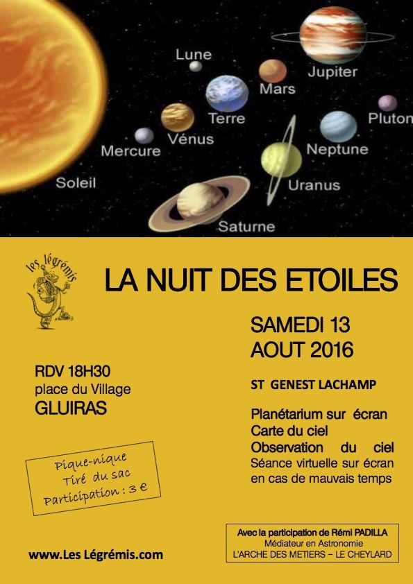 Nuit des étoiles, samedi 13 août 2016