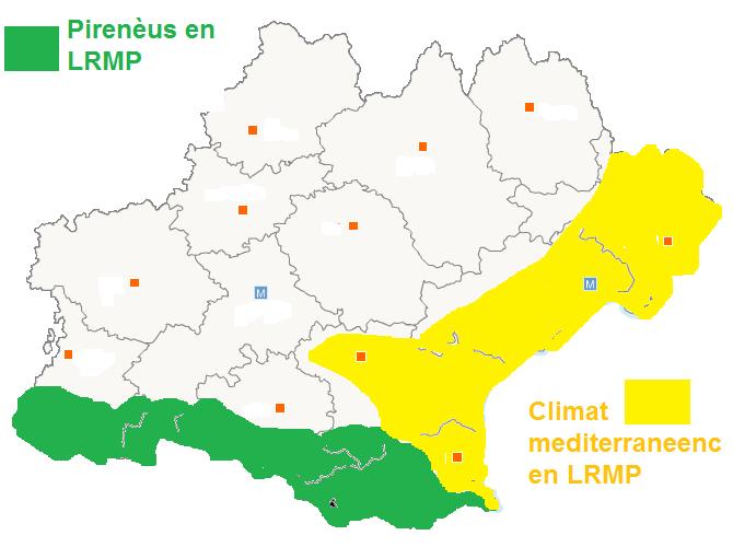 Zòna pirenencas e mediterranencas dins la region LRMP