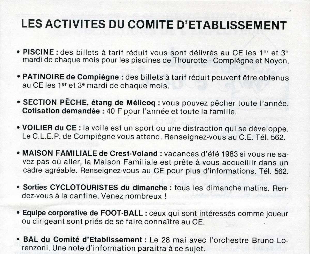 Album - Chantereine, le Comité d'établissement, ses activités