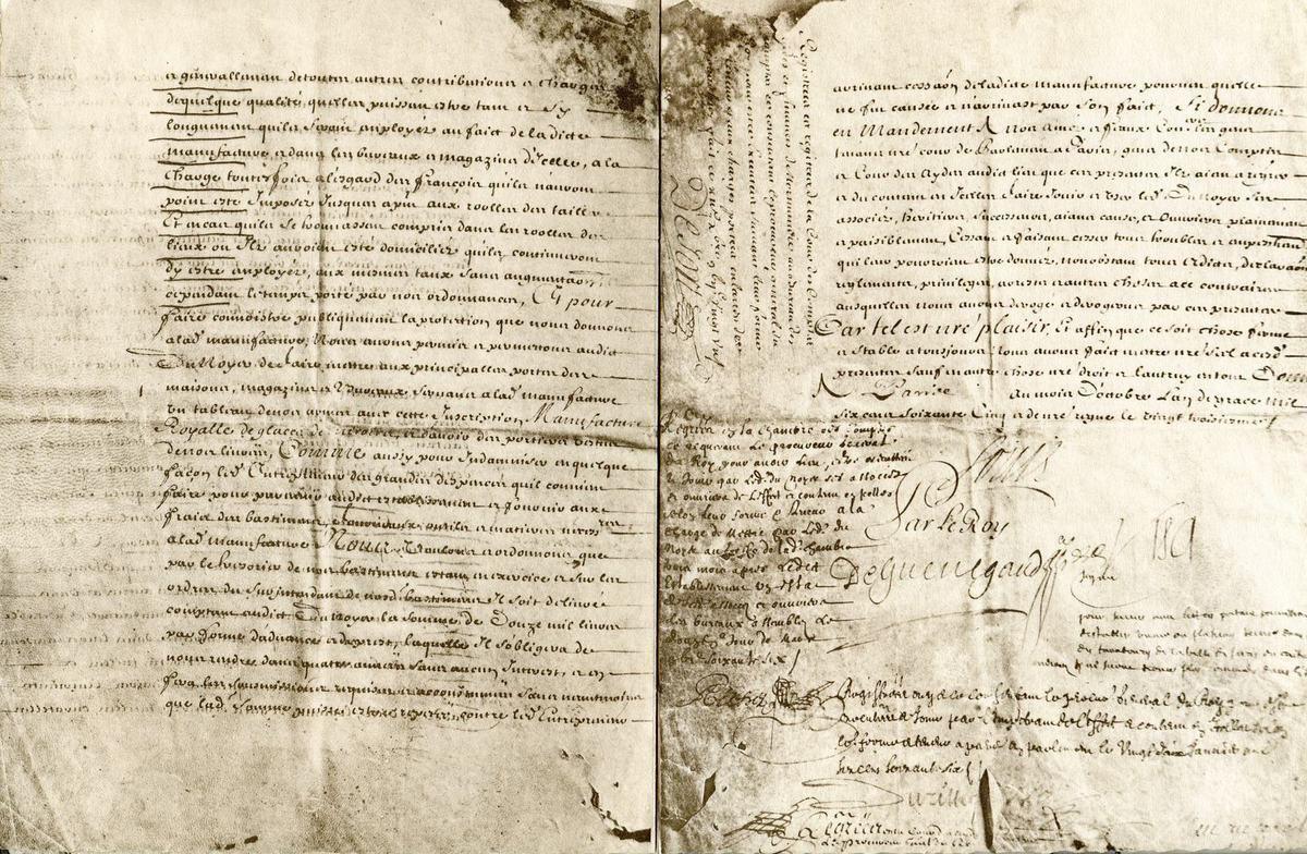 Album - groupe Saint-Gobain, 1665-1965, la situation du groupe avec les lettres patentes