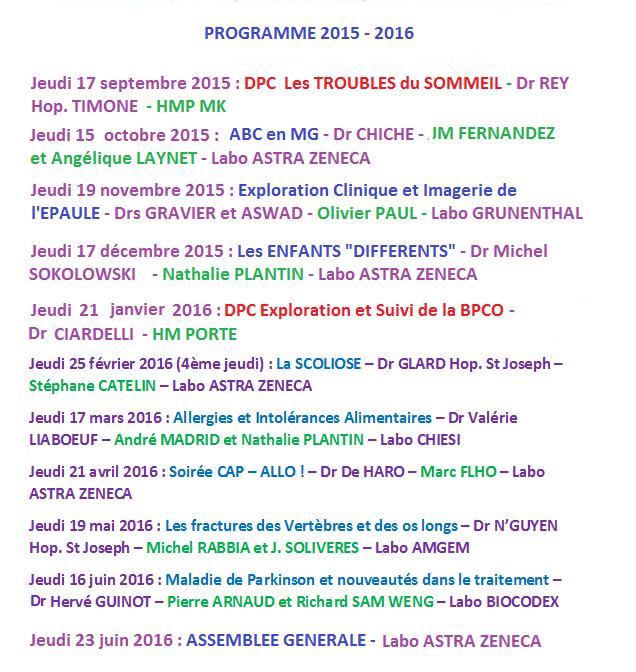 PROGRAMME AMOMEC 2015 - 2016