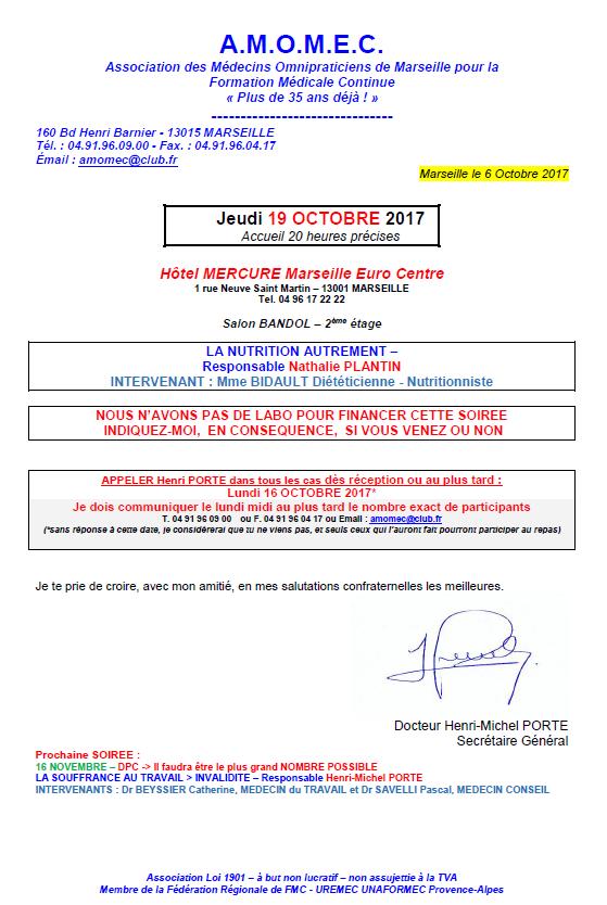 SOIREE DU 19 OCTOBRE 2017