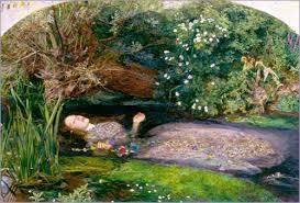 Ophelia, de John Everett Millais, 1852  Huile sur toile, 76,2 x 111,8 cm  Tate Gallery, Londres