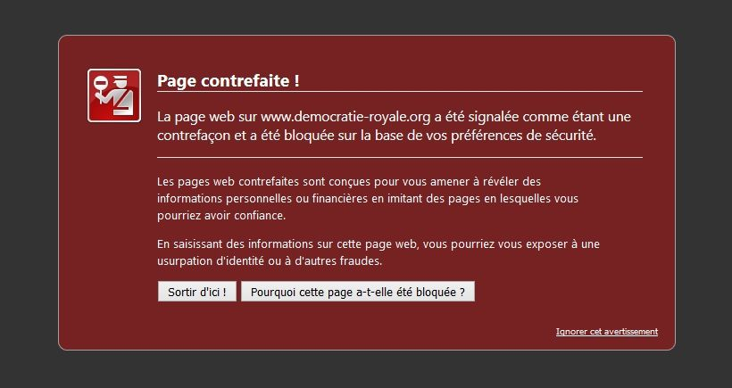 CENSURE DU SITE DEMOCRATIE ROYALE