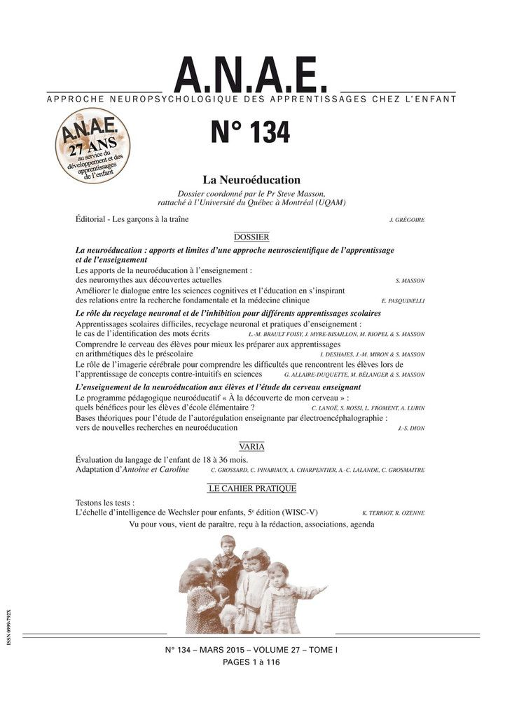 ANAE N° 134 - La Neuroéducation - S. Masson (UQUAM)