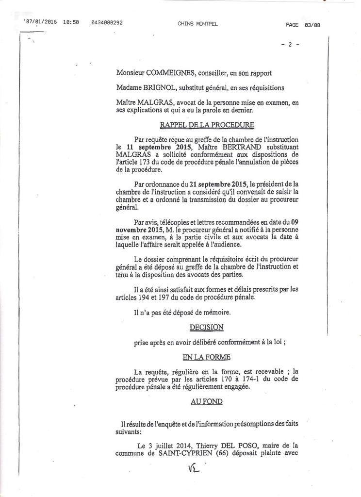 Chambre de l'instruction de Montpellier du 7 janvier 2015