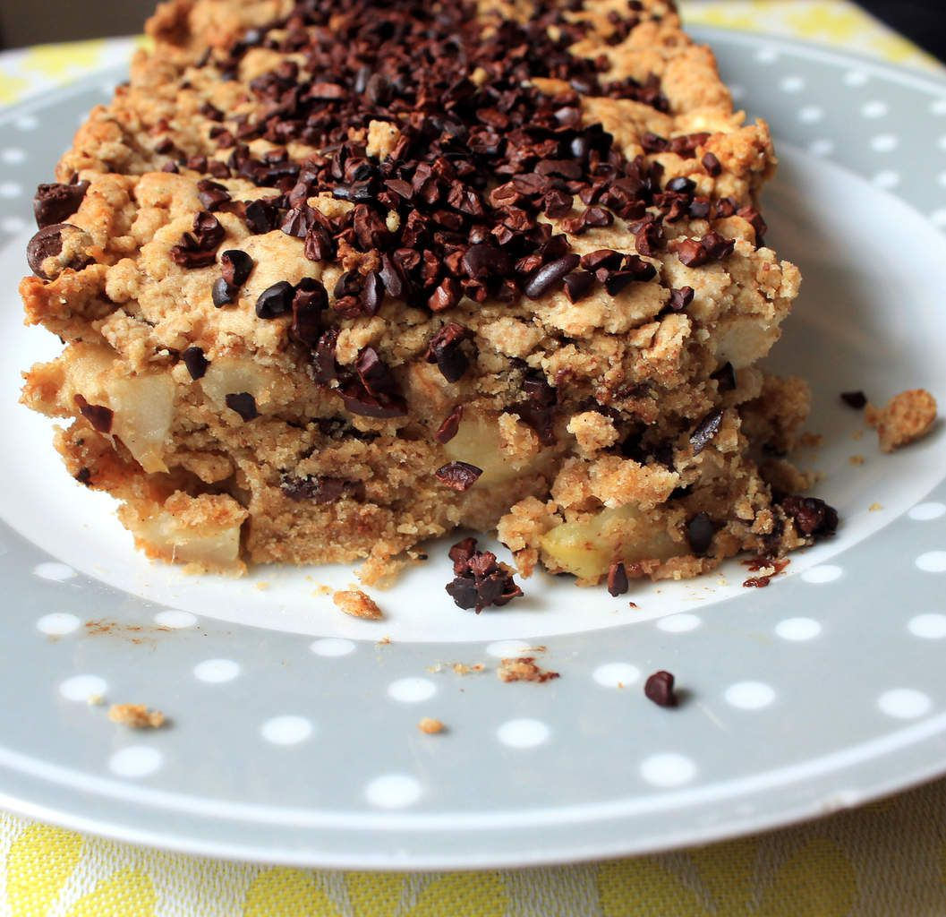"""Cake """"crumble"""" pommes-chocolat (recette végétalienne)"""