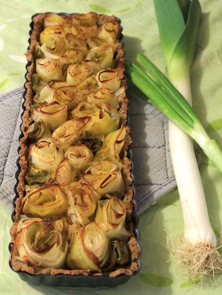 Tarte poireaux-cébettes-moutarde végétalienne (pâte sans gluten)