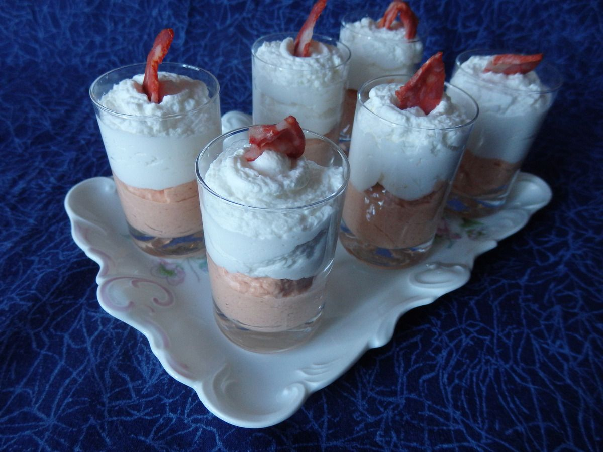 Verrine mousse chorizo, chantilly chèvre frais