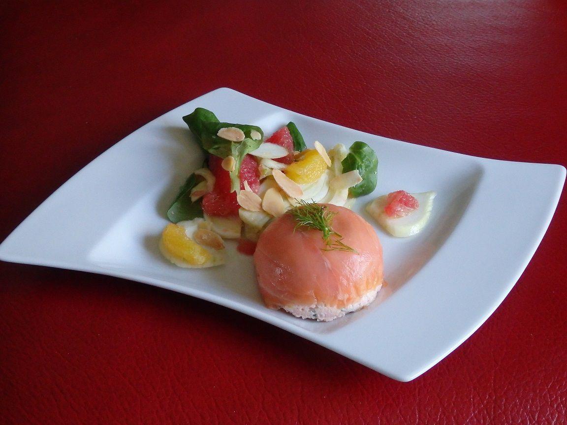Dômes aux deux saumons et sa salade de fenouil au agrumes