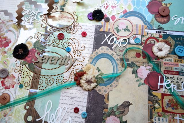Kit Principal: Authentique: Harmony: Spirit American Crafts: Dear Lizzy: Serendipity: Watercolor Words Bo Bunny: Juliet: 12x12 Combo Stickers Bo Bunny: Juliet: Amore Bo Bunny: Juliet: Noteworthy Die-Cuts Bo Bunny: Juliet: Prose Kaisercraft: Homemade: Family Portrait Die-Cut Paper Kaisercraft: The Looking Glass: Wonderland Die-Cut Paper Papermania: Capsule: Spots & Stripes: Jewels: Buttons* Petaloo: Darjeeling: Medium Mix: Black/Cream/Brown FabScraps: Chipboard Word: Serenity C'est Magnifique: Sheer Green Ribbon Prima: Say It In Crystals: Acrylic Gemstone Swirl Frame Stickers: Bronze We R Memory Keepers: Chevron Washi Tape: Cocoa