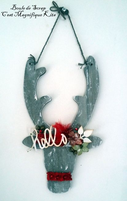 Couronne de Noël en bois et Renne décoratif pour &quot&#x3B;Cest Magnifique Kits&quot&#x3B;