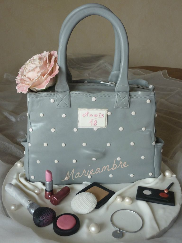 G teau sac main et maquillage purse cake and makeup for Decoration 18 ans fille