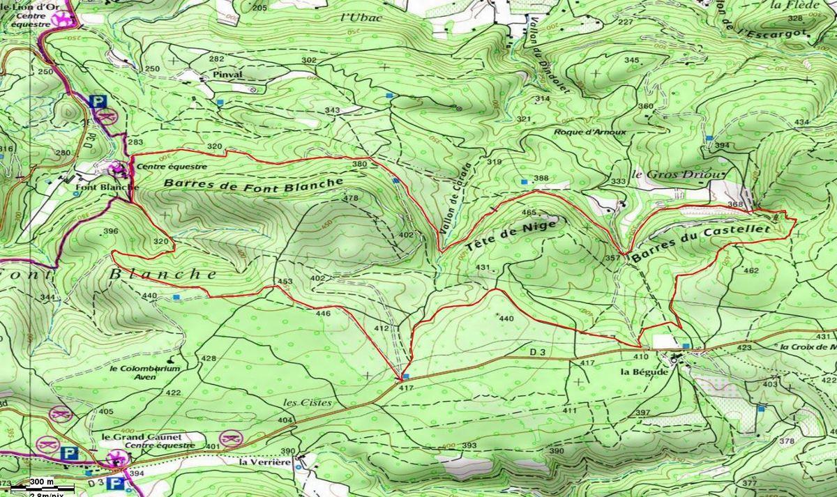 Rando, les Barres de Fontblanche, Tête de nige, Barres du Castellet...