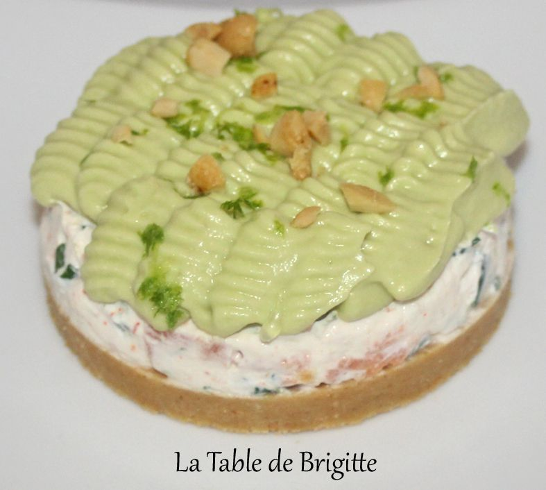 Cheesecake au saumon fumé et sa chantilly à l'avocat