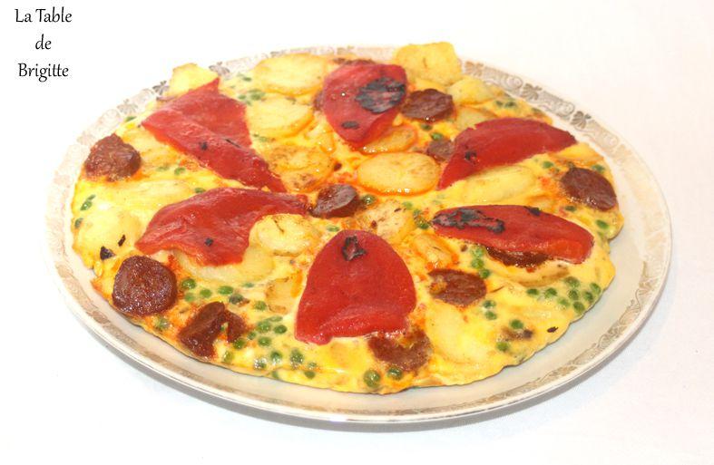 Tortilla au chorizo et aux petits légumes