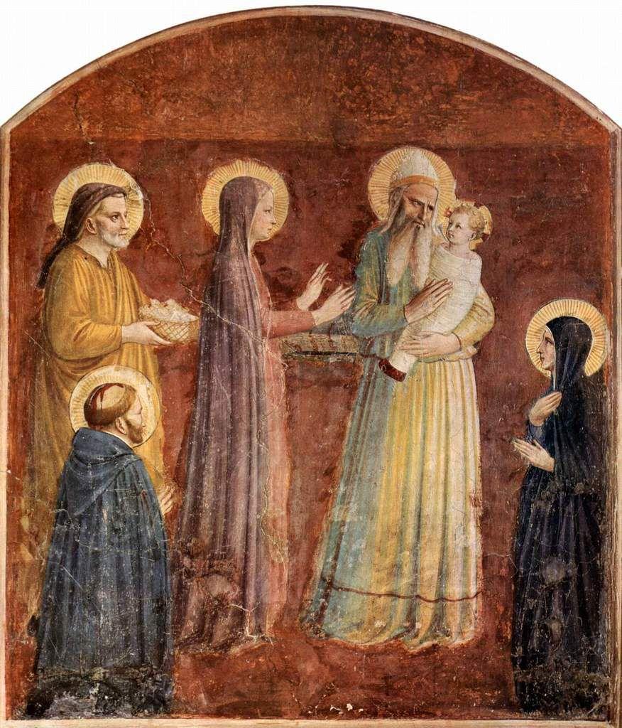 """Fra Angelico, SYMEON avec le Christ Enfant, détail de """"la Présentation au Temple"""", Florence"""