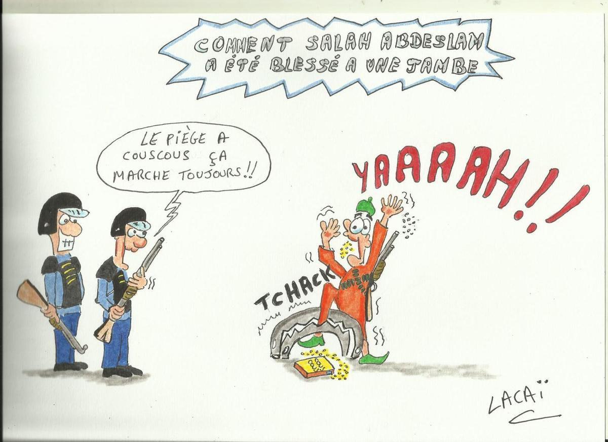 dessin caricature comment salah abdeslam a été blessé à une jambe