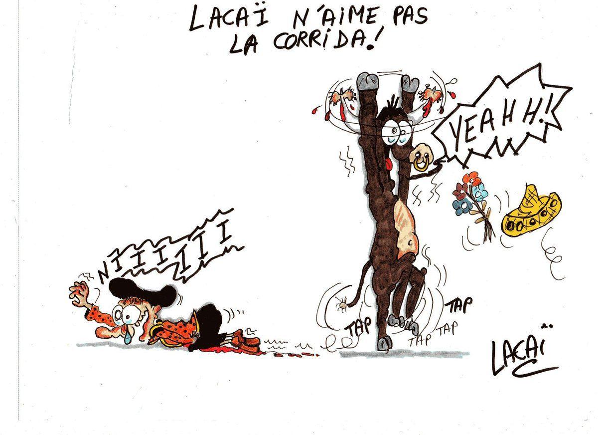 dessin lacai n'aime pas la corrida...