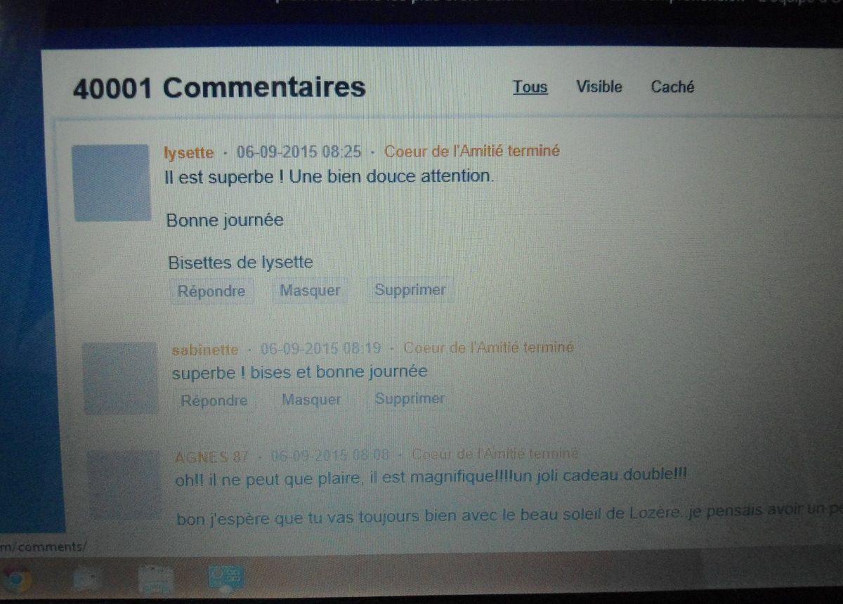 40 000 commentaires hier sur mon blog