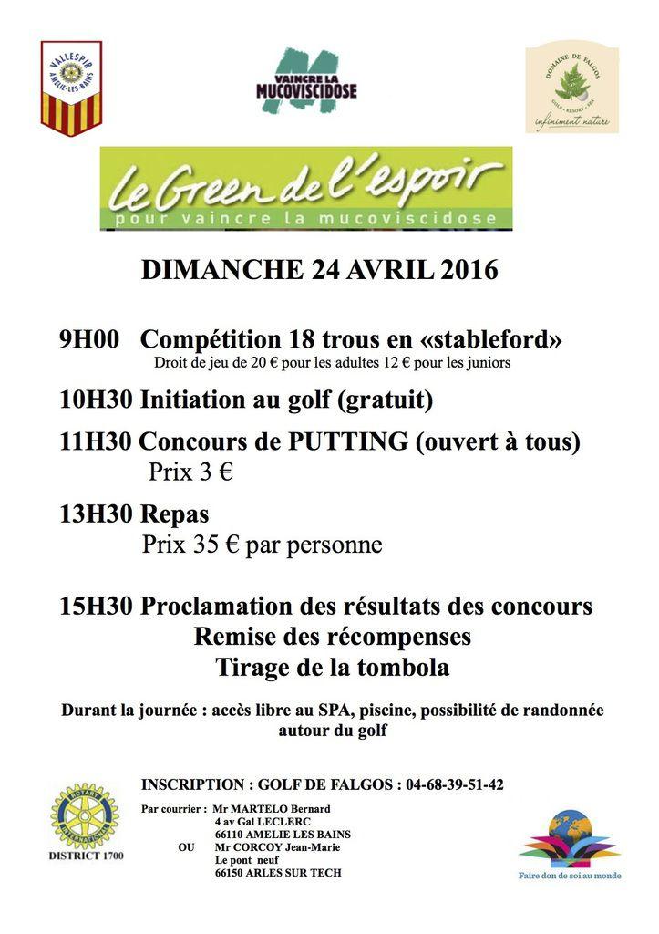 Compétition LE GREEN DE L'ESPOIR ! 24/04/2016