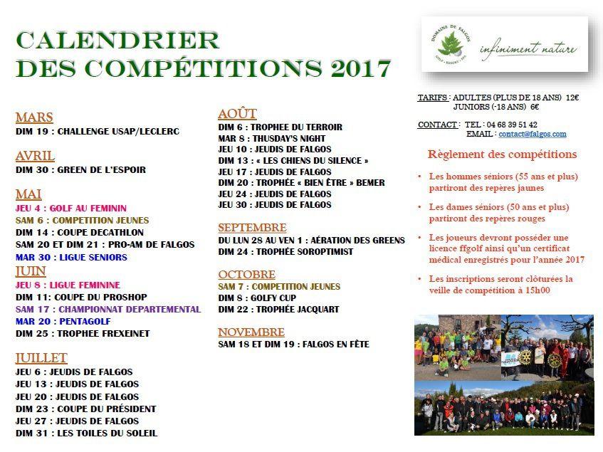 Calendriers Compétitions 2017
