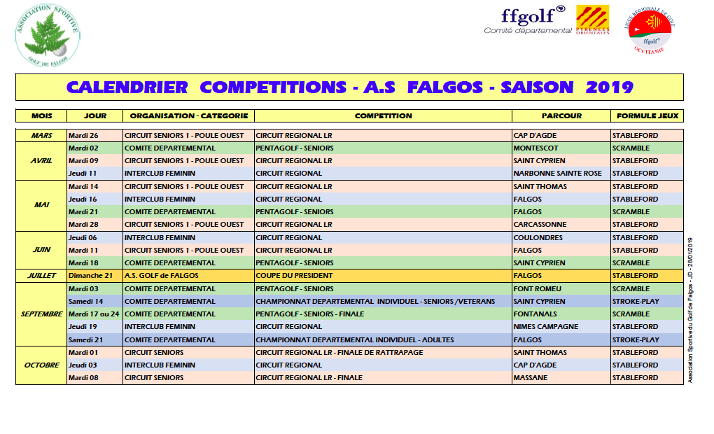 Competitions As Calendrier 2019 Association Sportive Golf