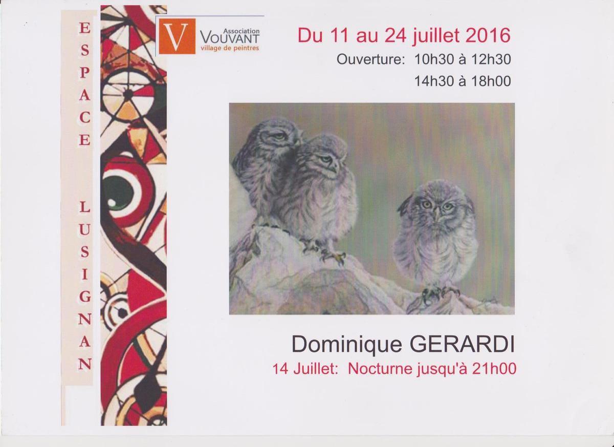 Dominique Gérardi à l'Espace Lusignan du 11 au 24 juillet 2016