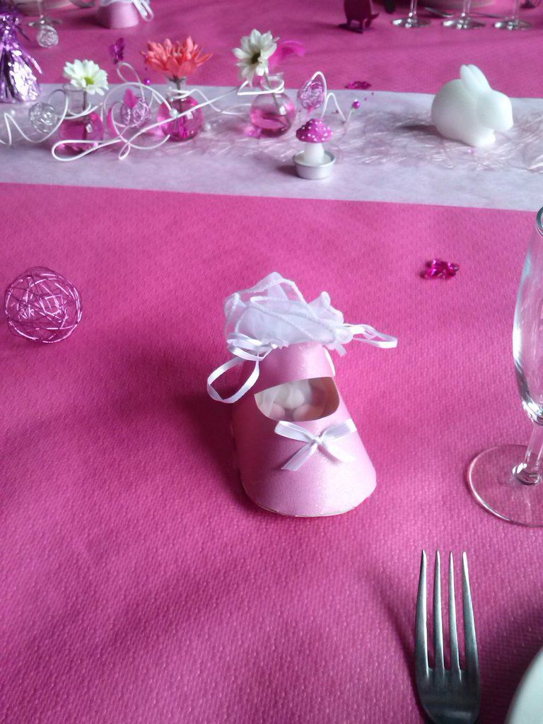 Deco Table Bapteme Fille Rose Blanc : Decoration table bapteme rose et blanc