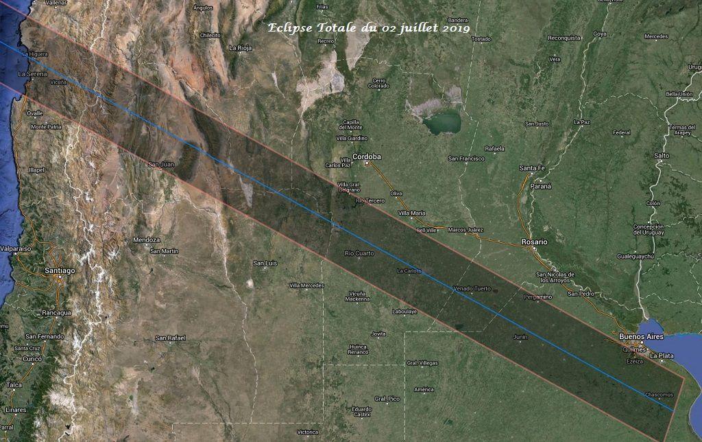 Trajectoire de l'éclipse totale du 02 juillet 2019 au Chili et en Argentine. Carte : Xavier Jubier.