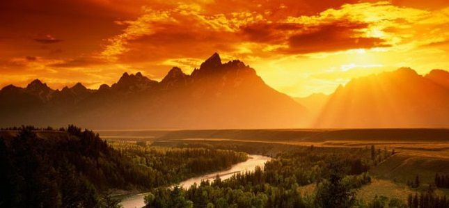 Coucher de soleil au Wyoming. Photo : MTI-USA.