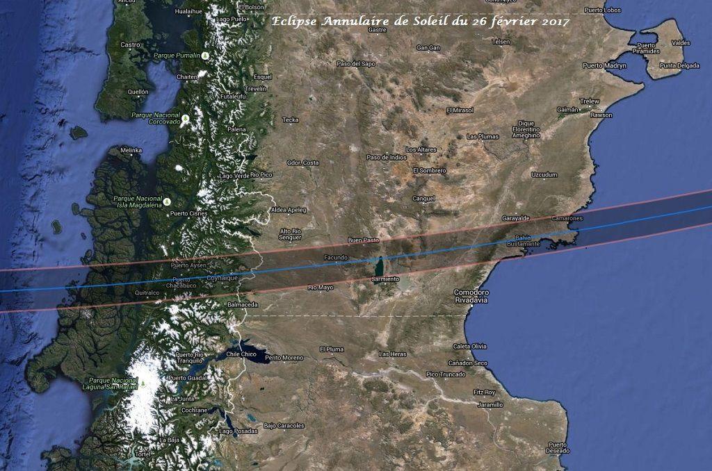 Trajectoire de l'éclipse annulaire du 26 février 2017 au Chili et en Argentine. Carte : Xavier Jubier.