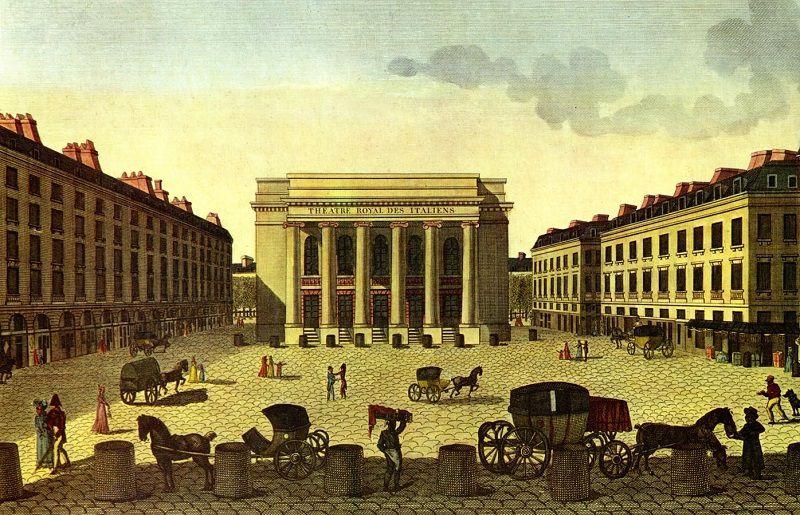 """Vue du Théâtre Royal Italien - première salle Favart - prise du coté de la place. Gravure originale de 1816 gravée par Blanchard ainé Père d""""après un dessin de Henri Courvoisier-Voisin."""