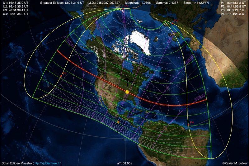 Trajectoire de l'éclipse totale de Soleil du 21 août 2017 - (c) Xavier Jubier - xjubier.free.fr