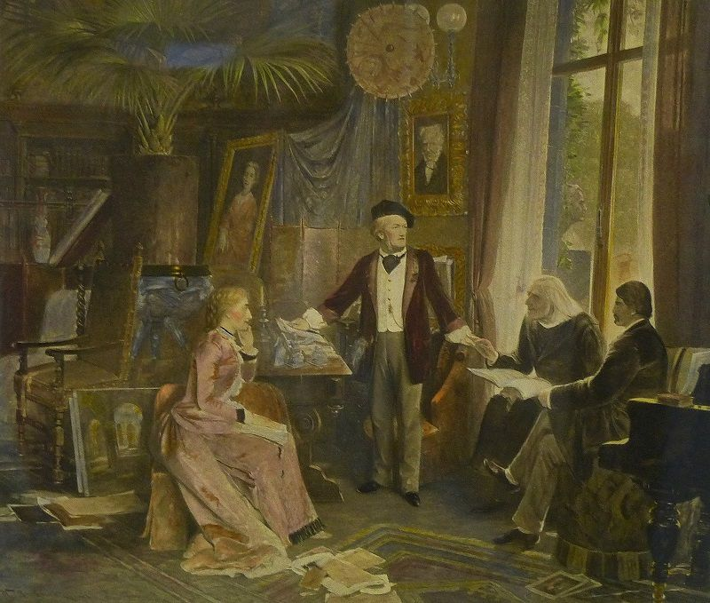 Richard Wagner, Cosima Wagner, Hans von Wolzogen and the elderly Franz Liszt at Haus Wahnfried Bayreuth circa 1880 (Photogravure by Franz Hafnstaengl after an oil painting by Wihelm Beckman, Liszt Museum, Bayreuth)