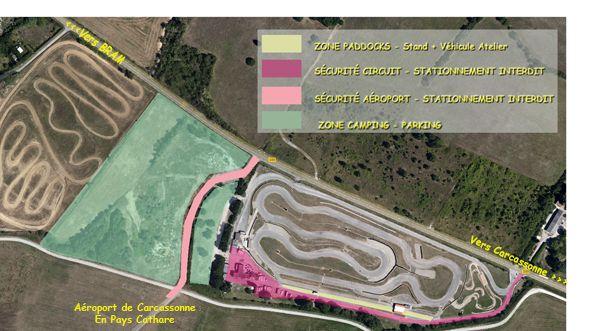 En couleur, les différentes zones réglementées.du Cyclodrome.