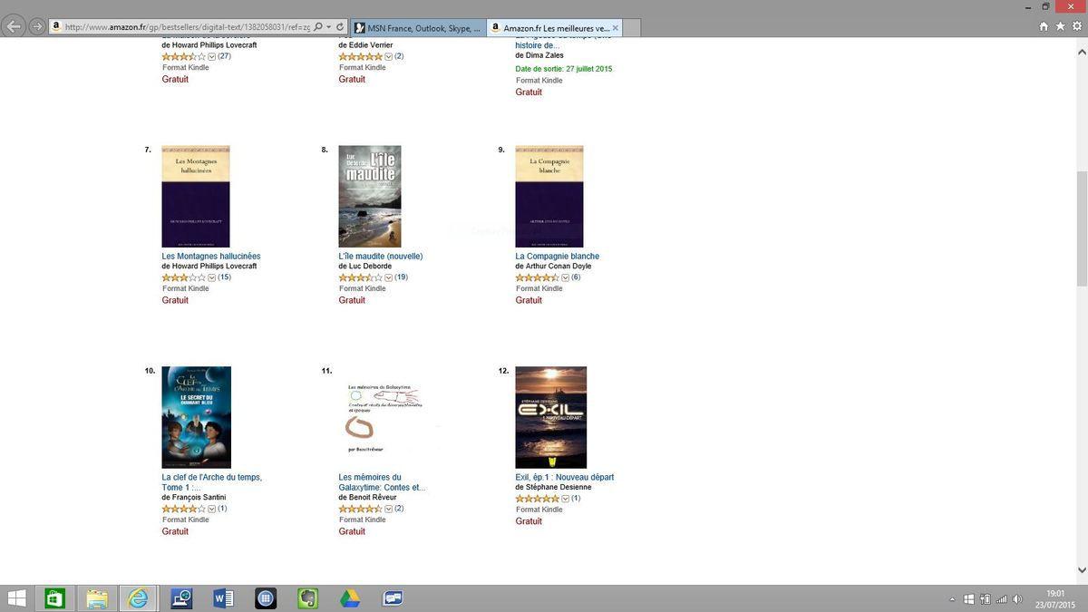 11ème  sur Amazon dans le TOP 100 des gratuits SF