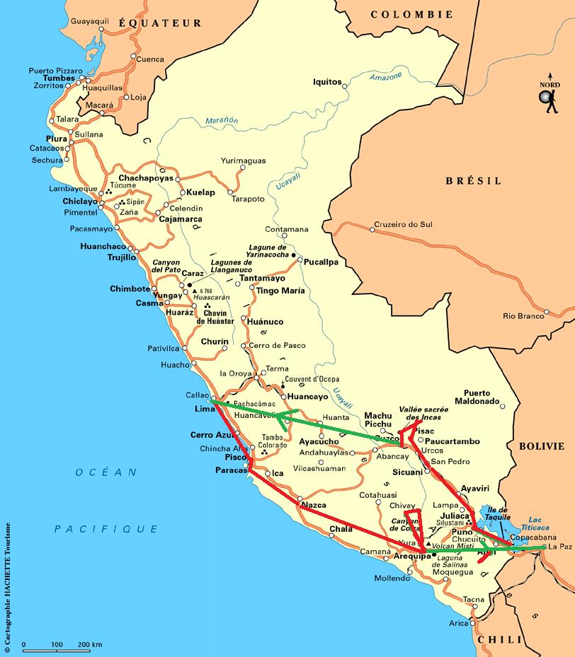 Les départements du Pérou et notre circuit entre Lima et la lac Titicaca