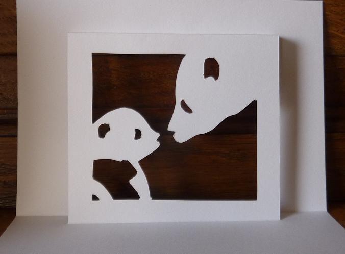 Kirigami : Gabarit gratuit : Maman Panda &amp&#x3B; son petit (2)
