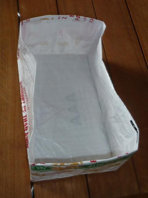 Recyclage d'un sac de riz